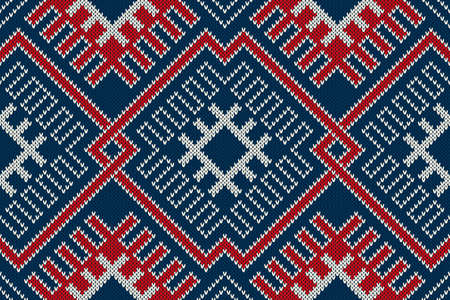 Winter Holiday sweater design on the wool knitted texture. Seamless pattern  イラスト・ベクター素材