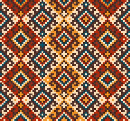 民俗のシームレス パターンの飾りのベクトル図です。民族飾り