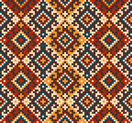 Vector illustration of folk seamless pattern ornament. Ethnic ornament Çizim