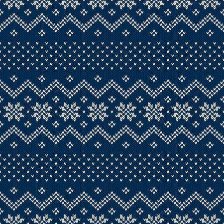 Seamless pattern ornament on the wool knitted texture. EPS available Vector