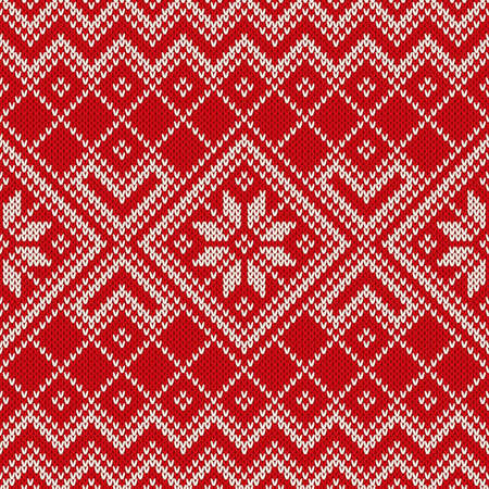 Christmas sweater design on the wool knitted texture. Seamless pattern  イラスト・ベクター素材