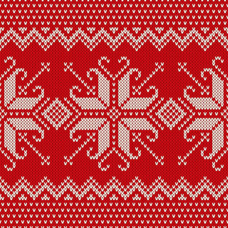 Christmas Sweater Design. Seamless Knitted Pattern with Snowflakes