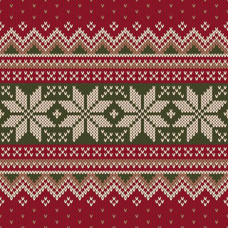 Seamless pattern ornament on the wool knitted texture.
