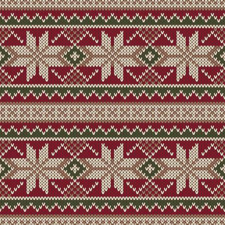 Christmas Sweater Design. Seamless Knitting Pattern Vector