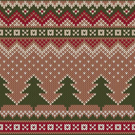island: Seamless Winter Holiday Pattern on the wool knitted texture