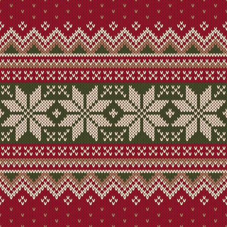 Christmas Sweater Design. Seamless Knitting Pattern Vettoriali