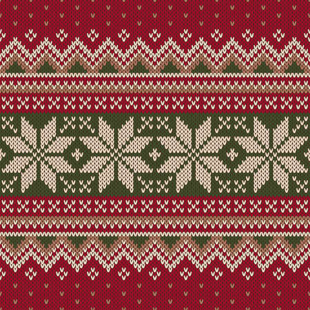 Christmas Sweater Design. Seamless Knitting Pattern Vectores