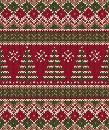 Christmas Sweater Design. Seamless Knitting Pattern Illustration