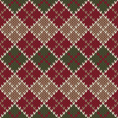 Traditional Christmas Sweater Design. Seamless Argyle Knitted Pattern Illustration