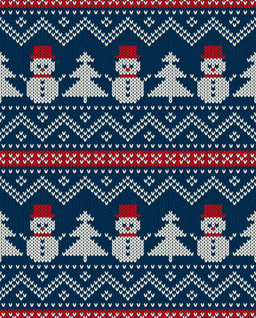 Winter Holiday Seamless Knitted Pattern With Snowman And Christmas Tree Vector