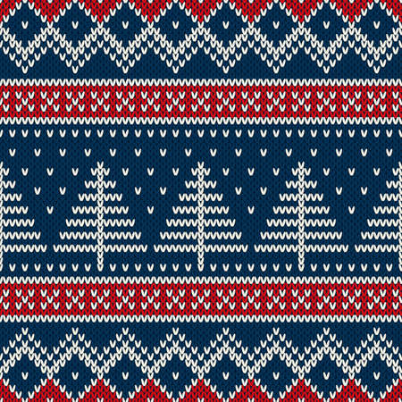 Winter Holiday Seamless Knitted Pattern With Christmas Tree Reklamní fotografie - 34174722