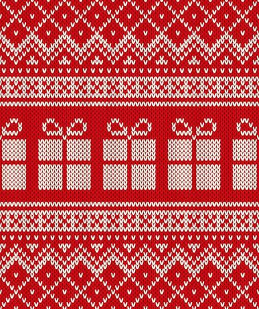 Christmas Holiday Sweater Design with Gift Boxes. Seamless Pattern