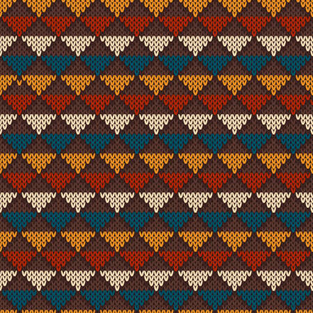 Vintage Knitted Seamless Pattern in Fair Isle style. Hipster Sweater Design Vector