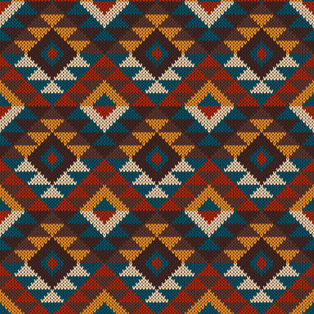 Tribal Aztec Seamless Pattern On The Wool Knitted Texture Royalty