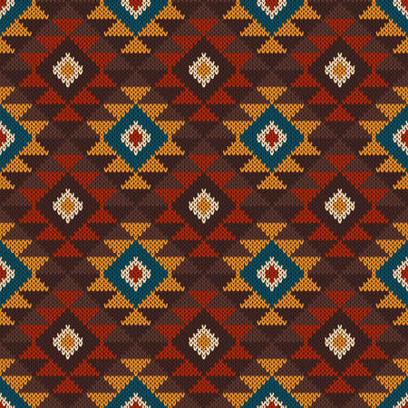 wool texture: Tribal Aztec Seamless Pattern on the wool knitted texture