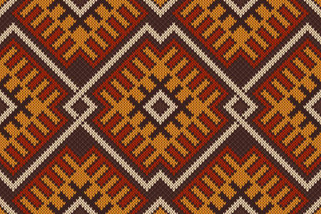 wool texture: Traditional Tribal Aztec seamless pattern on the wool knitted texture