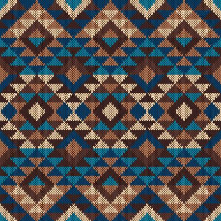 Traditional Tribal Aztec Pattern. Seamless Knitting Ornament Illustration