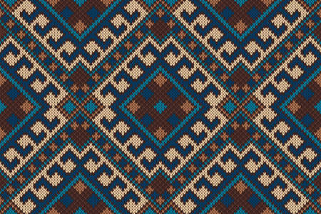 Traditional Tribal Aztec Pattern. Seamless Knitting Ornament Ilustrace