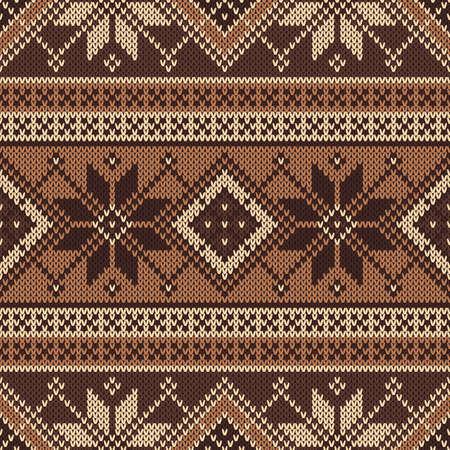fair isle: Tradizionale modello Fair Isle. Seamless Knitting Ornament Vettoriali