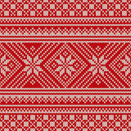 handicrafts: Winter Holiday Sweater Design. Seamless Knitted Pattern Illustration