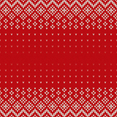 Fair Isle Style Seamless Knitted Pattern. Christmas Background with a Place for Text