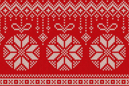 winter holiday: Winter Holiday Seamless Knitting Pattern with Christmas Balls