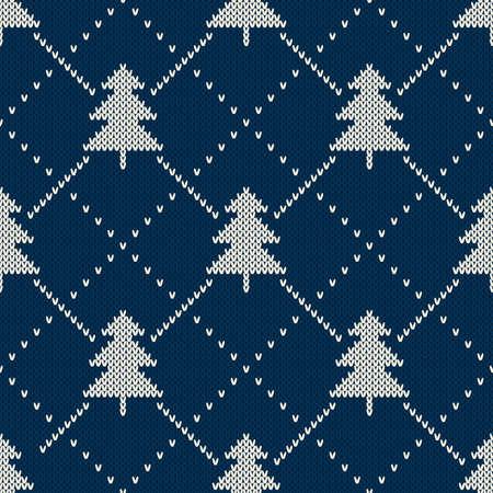 snowflakes: Christmas Sweater Design. Seamless Knitting Pattern Illustration