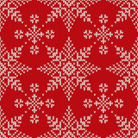 fleece fabric: Christmas Knitted Seamless Pattern with Snowflakes