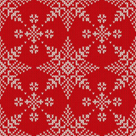 tejido de lana: Modelo de la Navidad de punto sin fisuras con los copos de nieve