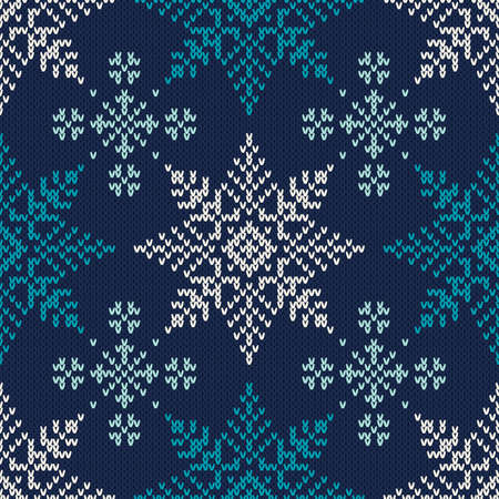 Winter Holiday Knitted Pattern with Snowflakes. Seamless Vector Background  イラスト・ベクター素材