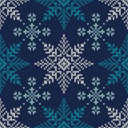 flocon de neige: Vacances d'hiver tricot� Motif de flocons de neige. Seamless vecteur de fond Illustration