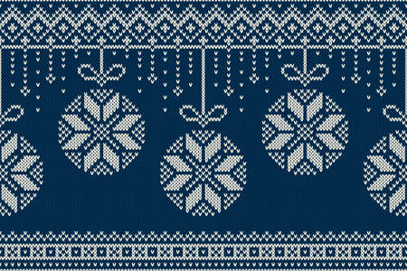 Christmas and New Year Knitting Pattern. Winter Holiday Seamless Sweater Design  イラスト・ベクター素材