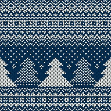 sueteres: Vacaciones de invierno sin fisuras patr�n de punto con los �rboles de navidad Vectores