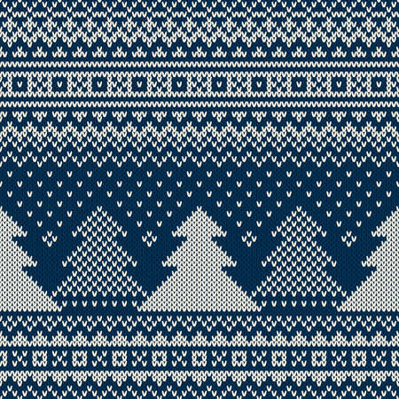 winter fashion: Winter Holiday Seamless Knitted Pattern with Christmas Trees Illustration