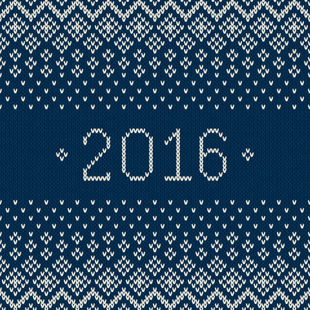 winter holiday: New Year 2016. Winter Holiday Seamless Knitted Pattern