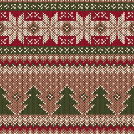 Traditional Christmas Sweater Design. Seamless Knitting Pattern Illustration
