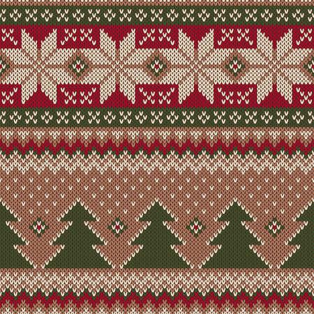 Traditional Christmas Sweater Design. Seamless Knitting Pattern Çizim