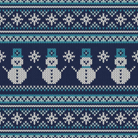 Winter Holiday Seamless Knitted Pattern  イラスト・ベクター素材