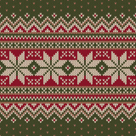 Traditional Christmas Sweater Design. Seamless Knitting Pattern Ilustrace