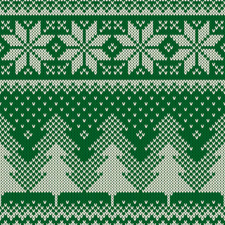 knitting: Winter Holiday Sweater Design. Seamless Knitted Pattern Illustration