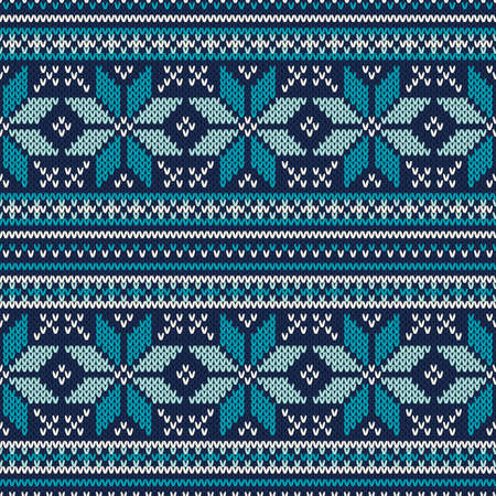 handicraft: Winter Holiday Seamless Knitted Pattern. Fair Isle Sweater Design