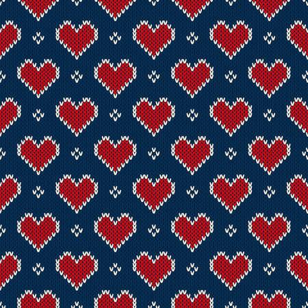 corazones azules: Modelo inconsútil hecho punto con los corazones. Fondo del día de San Valentín