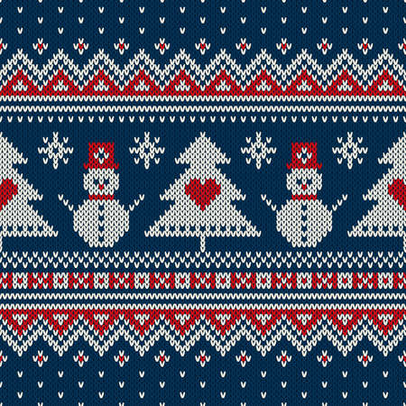 fair: Winter Holiday Sweater Design. Seamless Knitted Pattern Illustration
