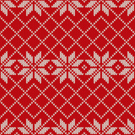 knitted: Winter Holiday Sweater Design. Seamless Knitted Pattern Illustration
