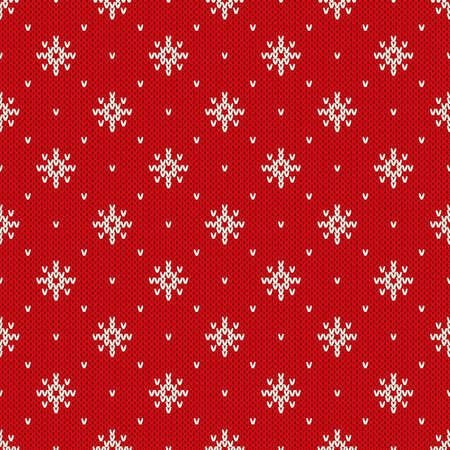 an island tradition: Winter Holiday Seamless Knitted Pattern with Snowflakes