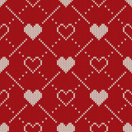Seamless Knitting Pattern With Hearts. Fair Isle Style Sweater ...