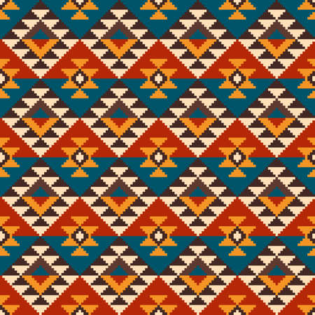 Geometric Pixel Seamless Pattern in Traditional Aztec Style. EPS available