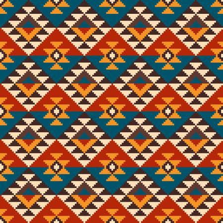 indische muster: Geometrische Pixel Nahtlose Muster im traditionellen Stil der Azteken. EPS verfügbar
