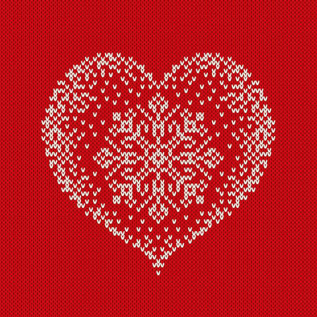 an island tradition: Valentines Day Knitted Sweater Design with Heart. Seamless Pattern