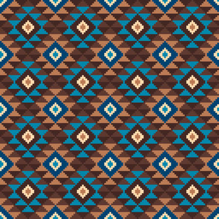 brown pattern: Tribal Aztec Style Seamless Geometric Pattern. Vector Illustration